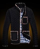 2014 Autumn winter men's Jacket Male slim cotton thick outerwear Argyle stand collor classic black coats M-2XL Free Shipping