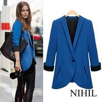 New women vintage blue blazer suits high street fashion jacket ladies spring cloth plus size single button cardigan Coat blazers