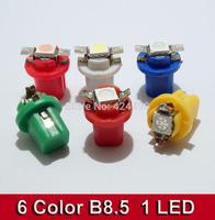 Hot Sale!!! 100 Pcs/Lot B8.5 Led Dashboard Bulbs 5050 Smd 1 LED Wedge Base Lamp B8.5 License Plate Light