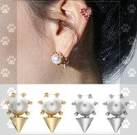 11.11 shipping jewelryNetworking hot sale fashion Pearl rivet back belt punk fashion stud earrings DY