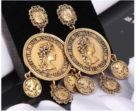 Avatar Beauty Queen Metal Coins Exaggerated Earrings Wholesale trend