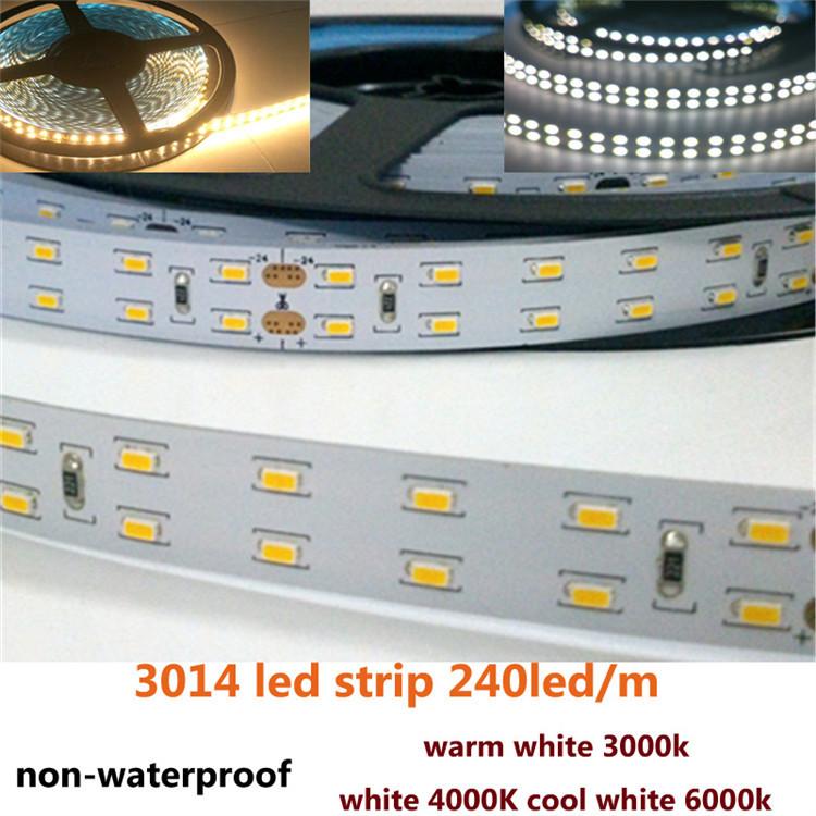 Superior quality High brightness smd 3014 led strip non-waterproof DC 24v warm white 3000k / white 4000k / cool white 6000k(China (Mainland))