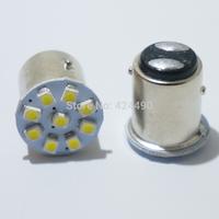 10pcs/lot 1210 smd led 1156 1157 BA15S BAU15S BA15D P21W 9 SMD 3528 Car Wedge Turn signal brake light 12V White