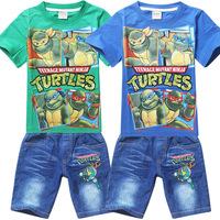 Retail 2014 Teenage Mutant Ninja Turtles Boys Clothing Sets Summer Kids Boys Clothes Short Sleeve Shirt+Denim Shorts