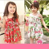 2015 new summer girls dress cute sheap Strawberry comfort girls vest harness princess dress,14NOV27