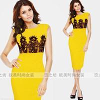 Ebay sleeveless o-neck patchwork slim elegant pencil  one-piece dress
