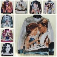 2014 Autumn New Fashion Unisex Sweatshirts Tops Lady Gaga Miley Sexy Women Body Titanic Hoodies Brand Sportwear Jacket Coat