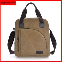The new Korean fashion canvas bag retro wave vertical section men's business casual shoulder bag hand bag Messenger bag