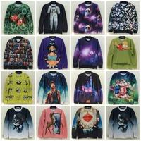 Galaxy Animal Cat Heart Miley Simpson Cartoon Two Side Printed Unisex Sweatshirt Woman/Man Brand Tops Sport Casual Sweatshirts