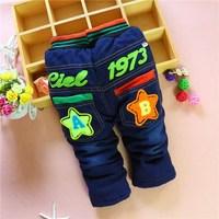 4pc/lot baby jeans stars winter kids pants denim children trousers thicken panya 208