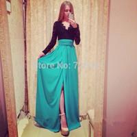 2015 Winter Party Long Black Lace Chiffon Patchwork Dress Slit Floor Vestidos Maxi Dresses Evening Tunic Bodycon Drop Shopping