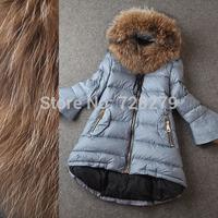 2014 Winter Coat  Fashion Raccoon Fur  Type Flare sleeve Medium-Long Down Outerwe Women's Jacket Plus Size L XL