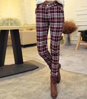 2014 New Fashion Women's Warm Long Pants Korean Style Fleecing Inside Plaid Pattern Slim Female Long Pencil Pants Plus Size