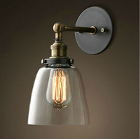 Free shipping Vintage Industrial Retro Bell Glass Wall Lamp Cafe Pub Bar Light Kitchen Gray +E27 Lamp holder +Wall lamp