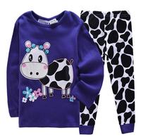 Children Cartoon Clothing Sets Boys Pajamas Girls Long Suit Set  Kids clothing set Pajamas 2pcs suits 100%cotton  Free shipping