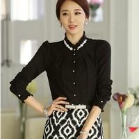 Plus S-XXL Korea new version Chiffon Lace Diamond collar Women blouse shirts, long sleeve Elegant office Occupation shirt tops