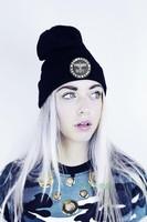 Winter Fashion Knitted Hat Black Casual Cap Man/Women Beanies Free Shipping