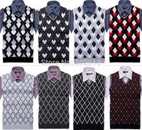 2014 Autumn Winter Men Sleeveless Vest Sweater V-Neck Fashion Spring Casual Men's Vest Sweater