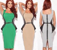 2014 summer fashion women's patchwork ol slim pencil evening one-piece dress
