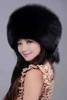 lady winter fashion  beanie cap 100% Genuine Fox Fur Hat lady winter warm   2014 free shipping