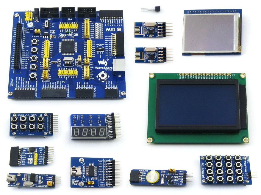 ATMEL AVR Development Board ATmega128A-AU 8-bit RISC AVR ATmega128 Development Board +11 Accessory Kit =OpenM128 Package B(China (Mainland))