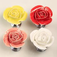 Ceramic Rose Furniture Handles Chrome Base Cabinet Knobs Wardrobe Drawer Colset Dresser Pulls Furniture porcelain handles