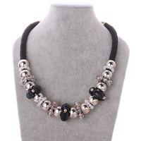 NE070 Vintage Costum Black Rope Chunky Adjustabel Collar Necklace New Statement  Jewelry 2014 Christmas Gift