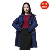 2014 women's woolen outerwear long design elegant woolen overcoat free shipping promotion 2 color S,M,L,XL