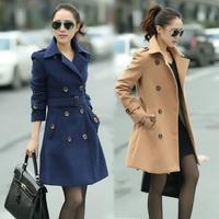 2014 autumn double breasted woolen outerwear women's wool overcoat medium-long plus size clothing woolen overcoat