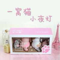 2014 Cute Cat Nightlight Mini LED Pink Energy Saving Bedroom Atmosphere light No trace Viscose Hook
