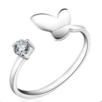 New S925 Sterling Silver 18K White Gold  top-class clear 5MM CZ Diamonds Butterfly Women Wedding Ring,Resizable Free Shipping
