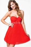 BD059,Free shipping Strapless fold with chiffon dress sleeveless collar sexy princess dress,fashion red dress