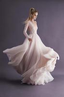 Elegant 2014 New A Line Wedding Dresses Deep V Neck Poet Lace Long Sleeve Backless Applique Sweep Train Bridal Gown