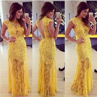 2014 High Collar Cap Sleeves Yellow Lace Appliques Embroidery Long Sexy Vestido De Festa Evening Party Gowns Lace Dress Vestidos