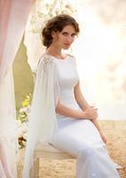2014 New Wedding Dresses Crew Chiffon Long SleeveBackless Sweep Train Elegant Bridal Gown Formal Dress