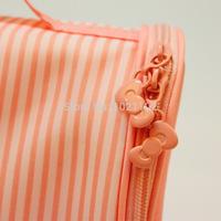 2014 women cosmetic bags striped bags fashion women travel wash bags Japan Korean style oxford fabric woman bag organizador
