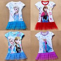 frozen short sleeve dress Elsa Ana Frozen Dress Princess Cartoon Print Baby Girls Casual Dresses For 2-7 Years Party Baby