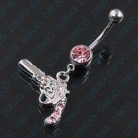 Free Shipping! 14G GUN  Nautical Dangle Belly Ring Navel Bar Vanzy Body  Piercing Jewelry