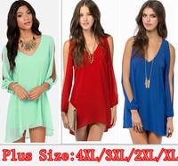 2015 NEW Long Sleeve dew shoulder Asymmetric chiffon dress,Women Pleated Chiffon sexy Dress Vestidos ,plus size Casual dress 4XL