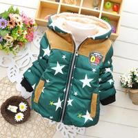 3pc/lot girls boys winter coats stars kids outerwear thicken cotton hooded baby clothing children jackets panya 250