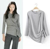 Free shipping 2014 new girls long sleeve t shirt irregular lap folding t-shirts
