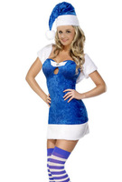 Blue Christmas Present Costume  Santa Adult Costume for some extra Holiday Fun Dress With Hat Free Shipping