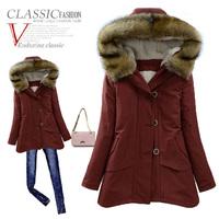 Winter cotton-padded jacket women medium-long plus size parka thickening wadded jacket outerwear coats slim jackets women winter