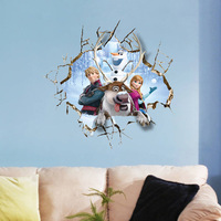 PVC Large Elsa Frozen Christmas Wall Stickers Bedroom Decoration Olaf Wall Decal for Kids Rooms Decor ZY1421