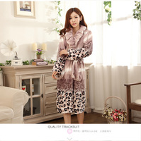 2014 Fashion Thick Flannel Sleepwear Night Robe Nightgown Pajama Autumn And Winter Long-sleeve Lounge Female