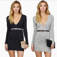 2014 Elegant Office Wear Women dress Deep V Neck Bodycon vestidos Sexy MIni Dresses S M L