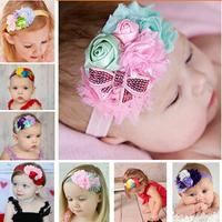 New 2014 design Infant baby girls rosette flower sequin bow headband headwear children kids hair accessories styling baby gifts
