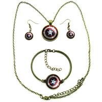 Captain America Star Shield Jewelry Vintage Bronze Necklace Earrings Bracelet Set Star Shield Image Glass Dome One Set 031