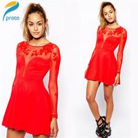 2014 Newest Vestido De Festa Women Long Sleeve Velvet Autumn Dress Embroidery A Line Casual Skater Dress Party Dresses HW0235