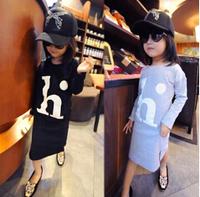Wholesale 5pcs/lot New Long Sleeve Letter h Girls Long Dress / Blouse Cotton Casual Children Long Tops Shirt Gray Black